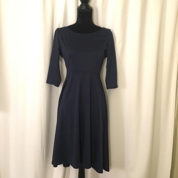 cd61835003 Navy Blue High-Low Swing Dress w  V-back